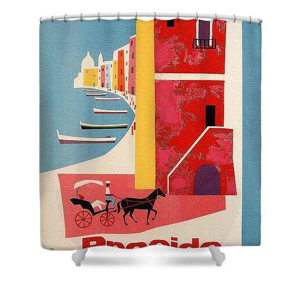 Procida - Naples, Italy - The Island Of Tranquility - Retro Travel Poster - Vintage Poster Shower Curtain