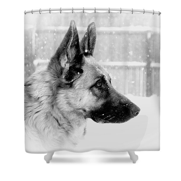 Profile Of A German Shepherd Shower Curtain