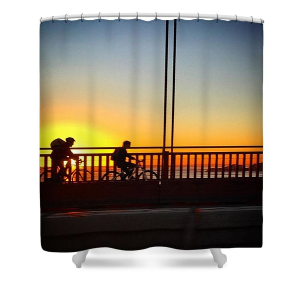 Two Cyclists At Sunset  Shower Curtain