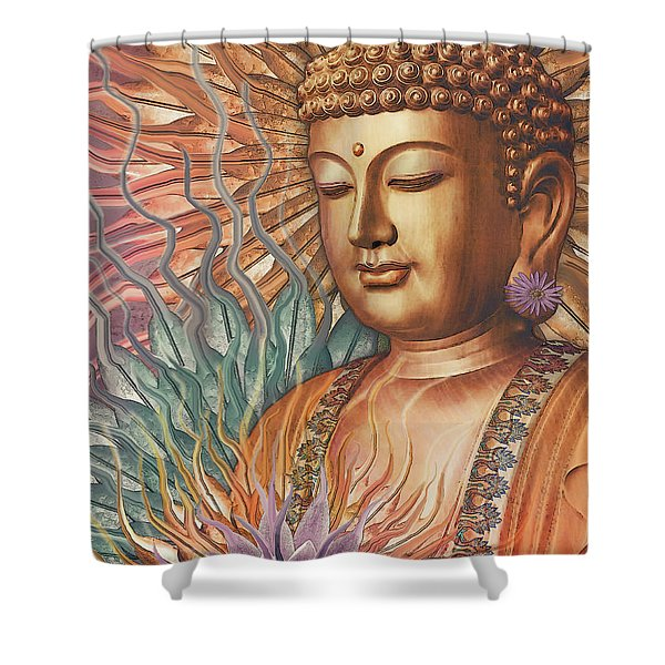 Shower Curtain featuring the digital art Proliferation Of Peace - Buddha Art By Christopher Beikmann by Christopher Beikmann
