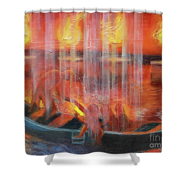 Prophetic Message Sketch 45 Detail Of Boat Shower Curtain