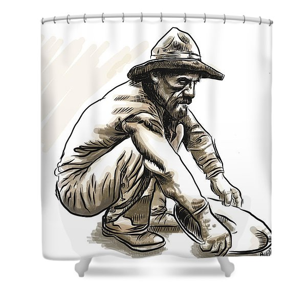 Shower Curtain featuring the digital art Prospector by Antonio Romero