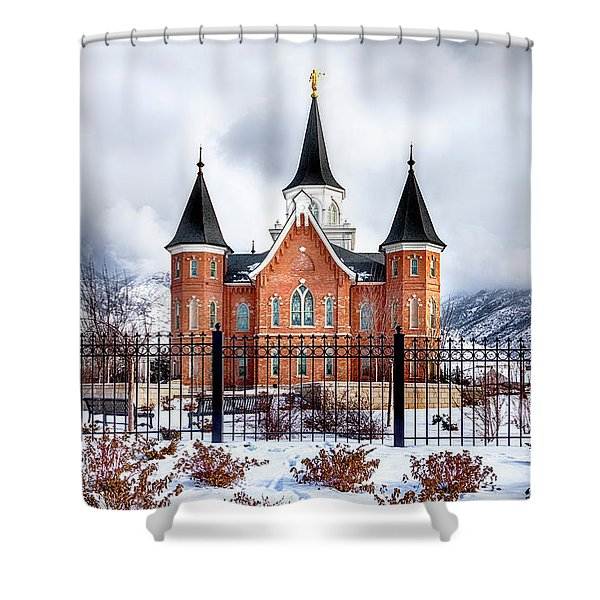 Shower Curtain featuring the photograph Provo City Center Temple Canvas Print, Photographic Print, Art Print, Framed Print, Greeting Card, by David Millenheft