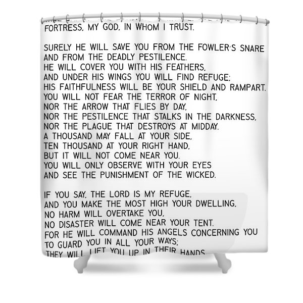 Psalm 91 #minimalism Shower Curtain