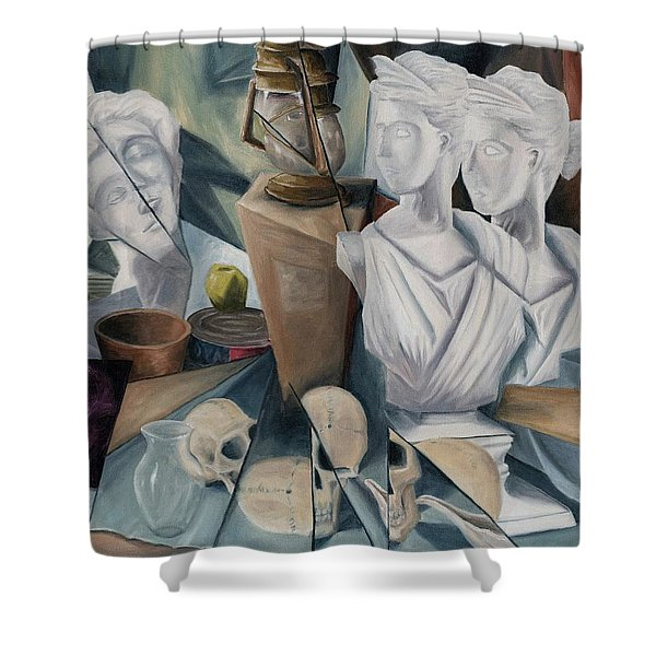 Shower Curtain featuring the painting Psyche by Break The Silhouette