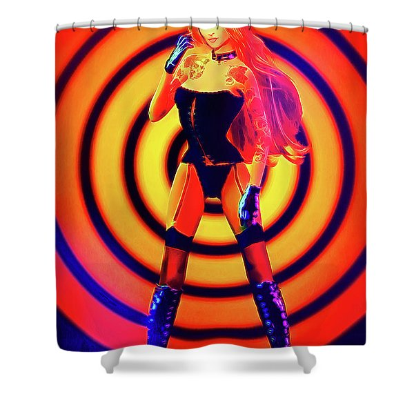 Psychedelic Hypnotic Pin-up Girl Shower Curtain