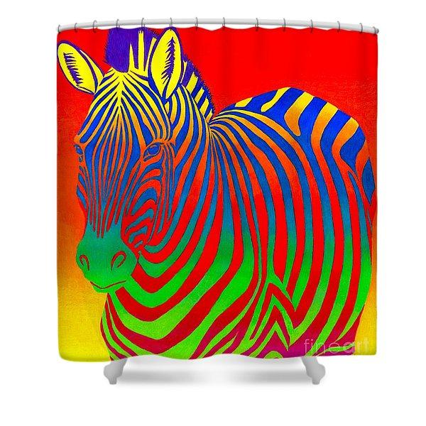 Psychedelic Rainbow Zebra Shower Curtain