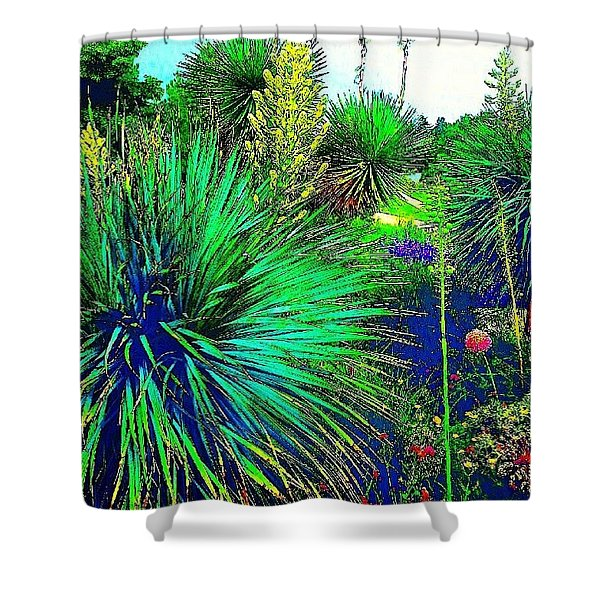 Psychedelic Yuccas. #plant #yucca Shower Curtain