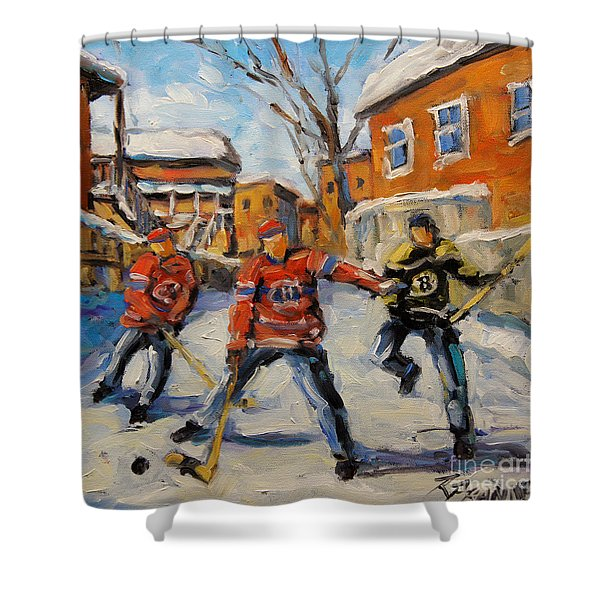 Puck Control Hockey Kids Created By Prankearts Shower Curtain
