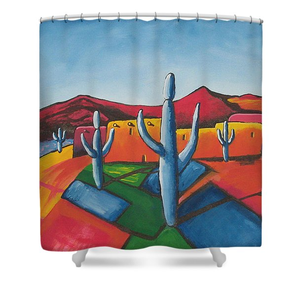 Shower Curtain featuring the painting Pueblo by Antonio Romero