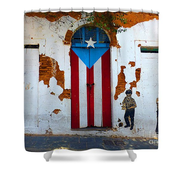 Puerto Rican Flag On Wooden Door Shower Curtain