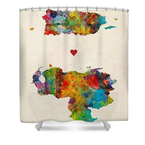 Puerto Rico Venezuela Love Shower Curtain