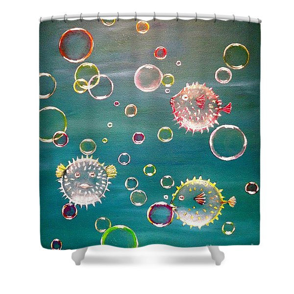 Puffer Fish Bubbles Shower Curtain