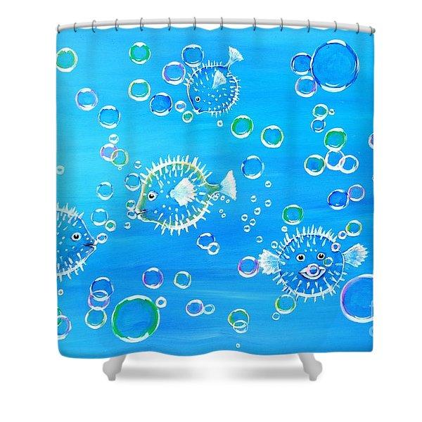 Pufferfish Playtime Shower Curtain