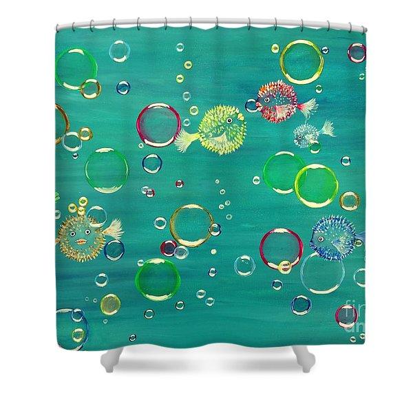 Pufferfish Rainbow Shower Curtain