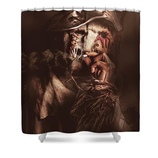 Puffing Billy The Smoking Scarecrow Shower Curtain