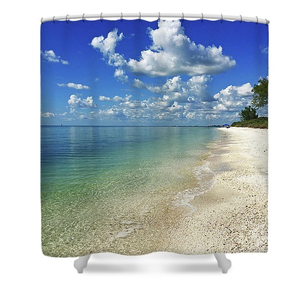 Puffy White Clouds At Delnor-wiggins Shower Curtain