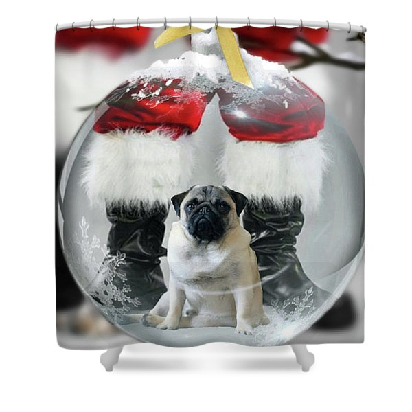 Pug And Santa Shower Curtain