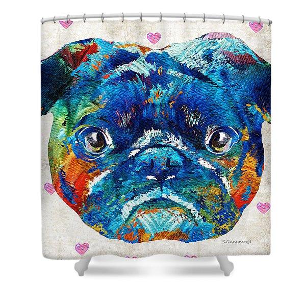 Pug Love Dog Art By Sharon Cummings Shower Curtain
