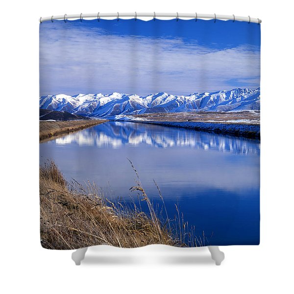Pukaki Canal, Canterbury, New Zealand Shower Curtain
