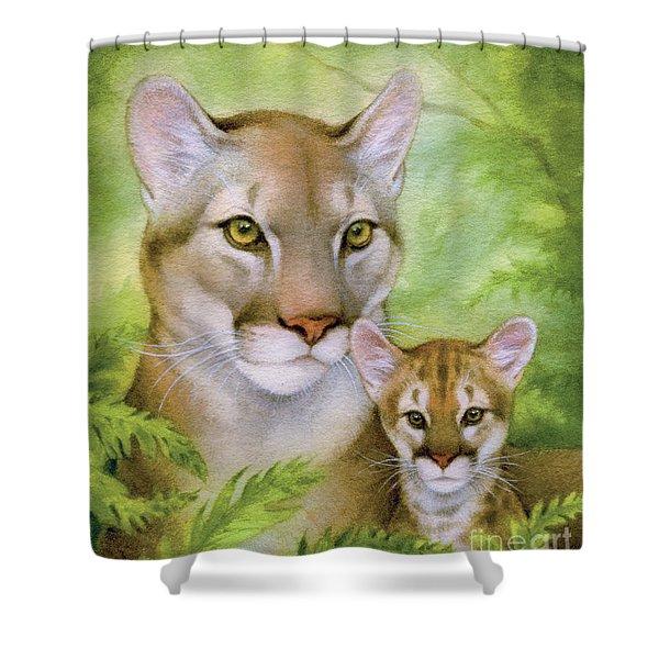 Puma And Cub Shower Curtain