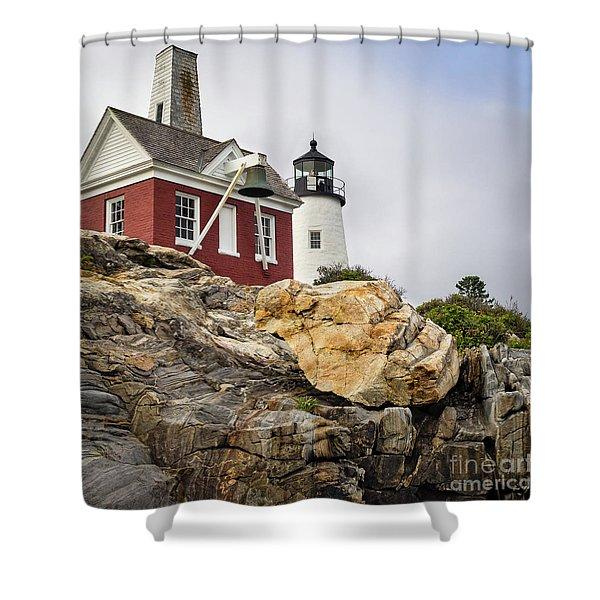 Pumphouse And Tower, Pemaquid Light, Bristol, Maine  -18958 Shower Curtain