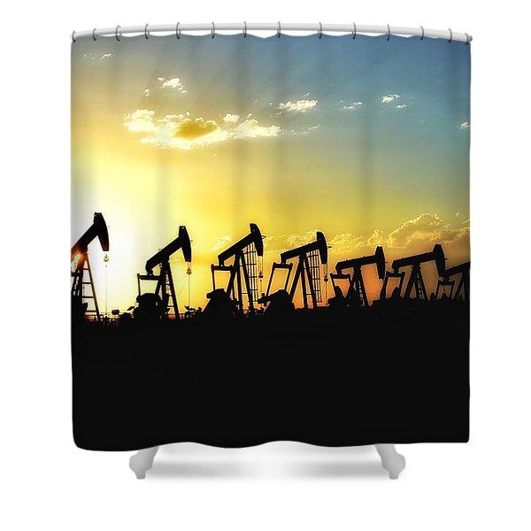 Pumpjack Sunset Shower Curtain