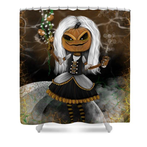 Pumpkin Spice Latte Monster Fantasy Art Shower Curtain