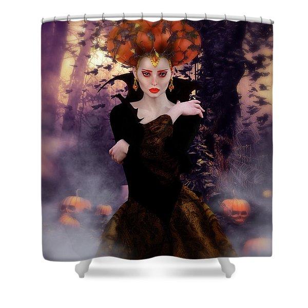 Pumpkin Witch Shower Curtain