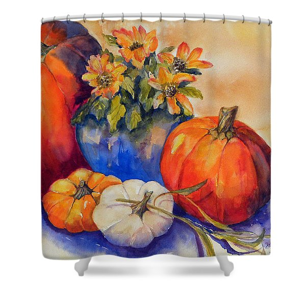 Pumpkins And Blue Vase Shower Curtain