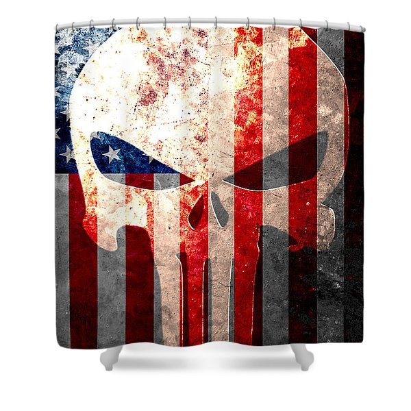 Punisher Themed Skull And American Flag On Distressed Metal Sheet Shower Curtain