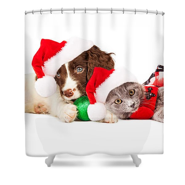 Puppy And Kitten Laying With Christmas Ornaments Shower Curtain