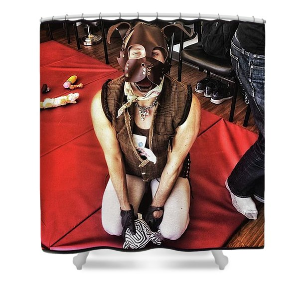 Shower Curtain featuring the photograph Puppy Play. Human Canine Training by Mr Photojimsf