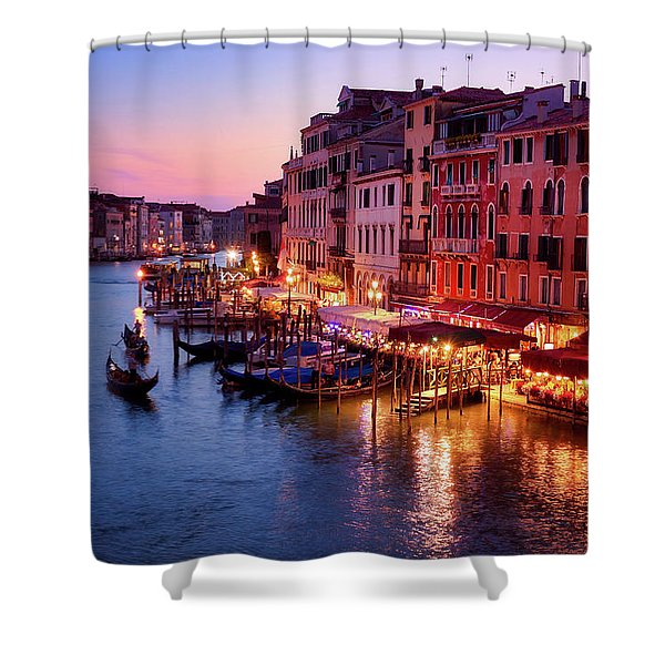 Cityscape From The Rialto In Venice, Italy Shower Curtain