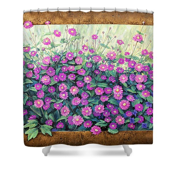 Purple And Pink Flowers Shower Curtain