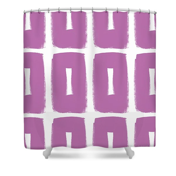 Purple Boxes- Art By Linda Woods Shower Curtain
