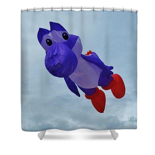Purple Cartoon Kite Shower Curtain