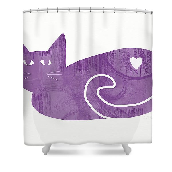 Purple Cat- Art By Linda Woods Shower Curtain