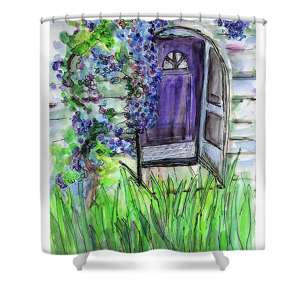 Purple Doorway Shower Curtain