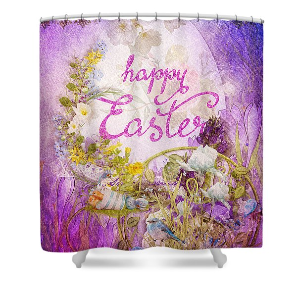 Purple Easter Shower Curtain