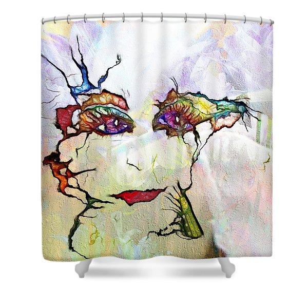 Purple Eyed Nymph Shower Curtain