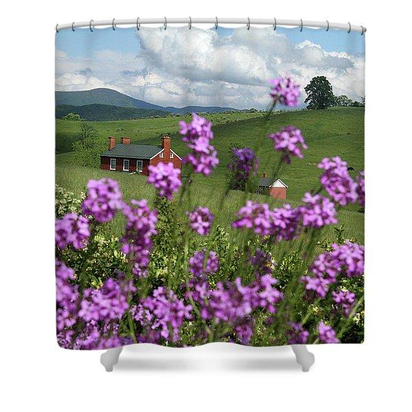 Purple Flower In Landscape Shower Curtain