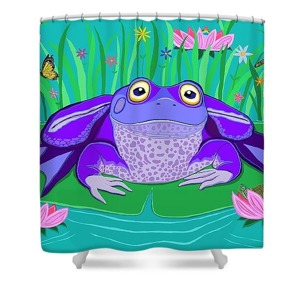 Purple Frog On A Lily Pad Shower Curtain