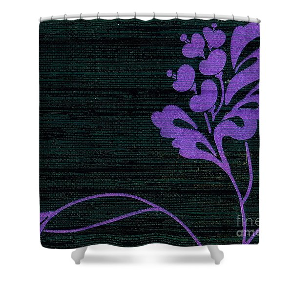 Purple Glamour On Black Weave Shower Curtain