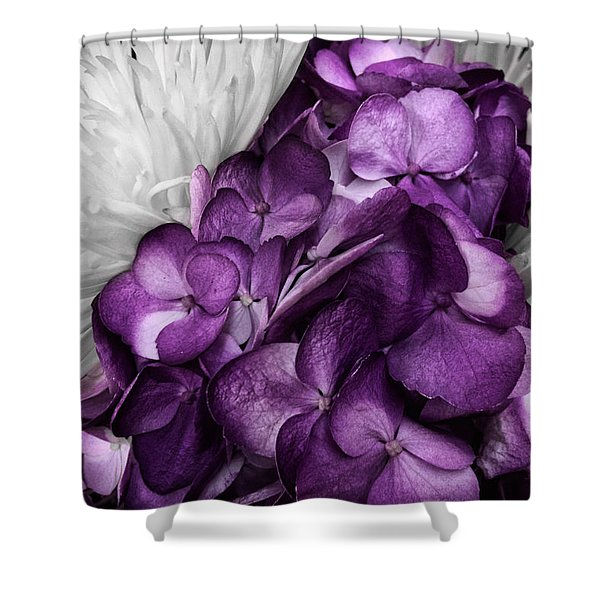 Purple In The White Shower Curtain