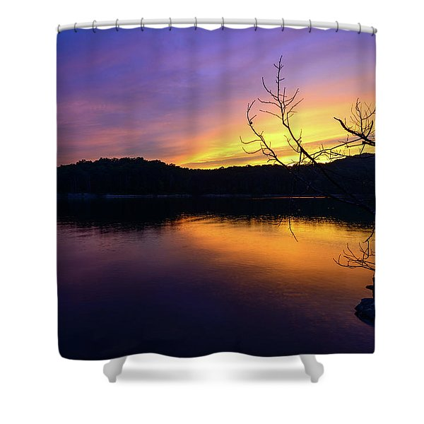 Purple Lake Shower Curtain