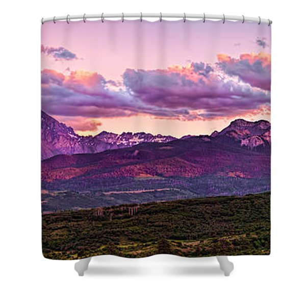 Purple Mountain Sunset Shower Curtain