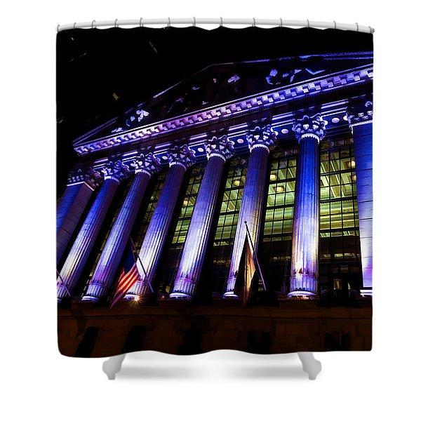 Purple New York Stock Exchange At Night - Impressions Of Manhattan Shower Curtain