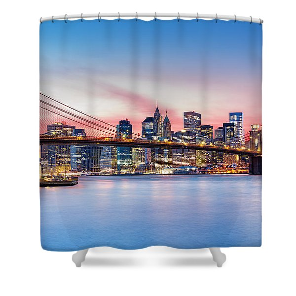 Purple Nyc Sunset Shower Curtain