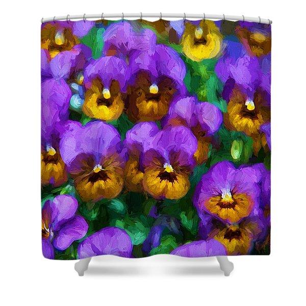 Purple Pansies Shower Curtain